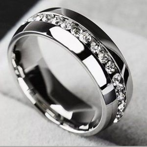 Silver Stainless Steel • Band Ring • Size: 8
